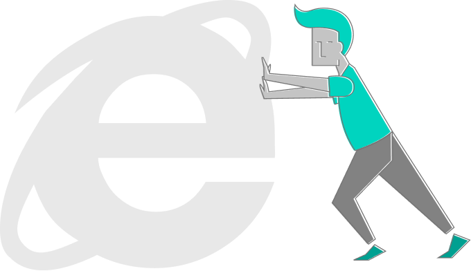 personagem empurrando a logo do Internet explorer